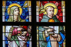 Stained Glass - Thomas Aquinas and Saint Teresa Royalty Free Stock Image