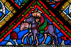 Stained Glass - Three Kings from the East. Stained Glass window in the Cathedral of Caen, Normandy, France, depicting the Three Kings or Three Wise Man on their Stock Photos