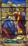 Stained Glass Window in Toledo. Stained Glass Scene in Toledo, Spain royalty free stock photo
