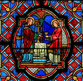 Stained Glass  in Tours Cathedral - Eucharist Royalty Free Stock Photos