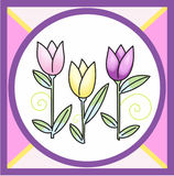 STAINED GLASS TULIP DESIGN Royalty Free Stock Photography