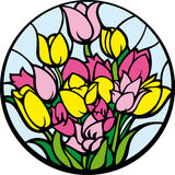 Stained-glass tulips. A bouquet of tulips looks like a stained-glass window Royalty Free Stock Image