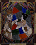 Stained glass of Two guignol fighting Stock Photos
