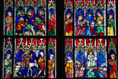 Stained Glass - various New Testament scenes Royalty Free Stock Image