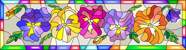 Stained glass vertical illustration with bright flowers pansies. Illustration in stained glass style with flowers, buds and leaves of pansy Royalty Free Stock Images