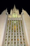 The stained glass wall, San Diego California Temple. The stained glass wall of the West spire of San Deigo California Temple. The San Diego California Temple is royalty free stock images