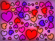 Stained Glass Warm Hearts Stock Photo
