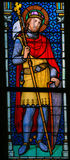 Stained Glass - Wenceslaus I, Duke of Bohemia. Stained Glass window in St. Vitus Cathedral, Prague, depicting Wenceslaus I or Vaclav the Good, Duke of Bohemia Royalty Free Stock Image