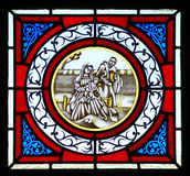 Stained glass widow with Jesus Royalty Free Stock Photo
