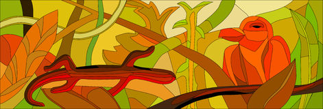 Stained glass with wild nature Stock Image