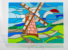 Stained glass - windmill Royalty Free Stock Photos