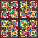 Stained-glass window 004. Stained-glass window colored  ornament  mosaic  pattern Stock Photos