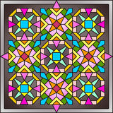 Stained-glass window 005. Stained-glass window colored ornament mosaic pattern Royalty Free Stock Image