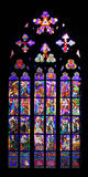 Stained glass window. Beautiful stained glass window at St. Vitus cathedral in Prague Stock Photos