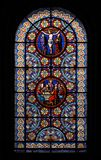 Stained-glass window. In the Basel Munster (Switzerland Royalty Free Stock Photos