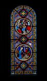 Stained-glass window. With Christmas scenes in the Basel Munster (Switzerland Stock Photography
