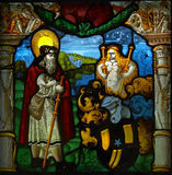 Stained-glass window. In the gallery of Wettingen Abbey (Switzerland Royalty Free Stock Photos