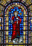 Stained Glass Window. A church stained glass window containing an image of Jesus Christ Royalty Free Stock Image