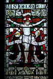 Stained glass window. Of crucifixion Stock Images
