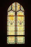 Stained glass window. From inside of church royalty free stock photography