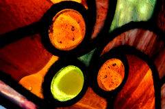 Stained Glass Window. Close up, macro view of a stained glass window Stock Photo