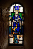 Stained Glass window. Of church showing Queen Margaret stock photo