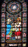 Stained glass window. With religious motive from spain Royalty Free Stock Photography