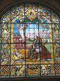 Stained glass window. Benedictine Palace - Fecamp - France Stock Image