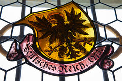 Stained glass window. In ancient Kyburg castle near Zurich Royalty Free Stock Photos