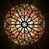 Stained glass window. Rose stained glass window stylized with a light effect stock illustration