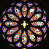 Stained-glass Window 3. Geneva. Stained-glass Window in st.-Pierre Cathedral Royalty Free Stock Image