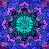Stained Glass Window. Pretty stained glass kaleidoscope in hues of blue, purple and green Stock Images