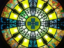 Stained glass window. Colored stained glass window stock photo