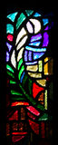 Stained-glass window. One of stained-glass windows in temple. Nazareth.Israel Royalty Free Stock Photo