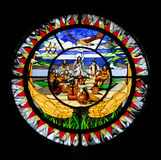 Stained glass window. Stained glass church window in devon,alberta Royalty Free Stock Photo