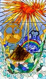 Stained glass window. With boat Royalty Free Stock Images