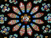Stained Glass Window. A circular style stained glass church window Stock Photography