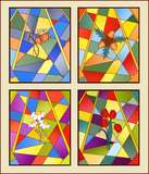 Stained-glass window. Four seasons vector illustration
