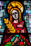 Stained Glass Window in an abandoned Chapel Royalty Free Stock Photography