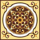 Stained glass window. Abstract Flower in square frame, geometric, window on the ceiling in square frame, symmetric composition, ve. Stained glass window Royalty Free Stock Photography