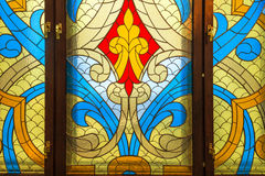 Stained glass window with abstract pattern. Royalty Free Stock Images