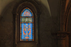 Stained glass window with  abstract pattern. Stock Photo