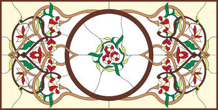 Stained glass window with abstract swirls and leav. Vector illustrations Stock Photo