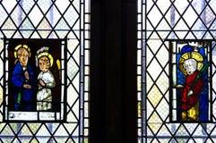 Stained glass. Window in Altena Burg, Germany Stock Photos