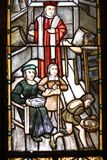 Stained-glass window of ancient doctor's office Stock Image