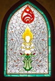 Stained glass window. Of angel at the temple in Thailand royalty free stock images