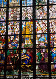 Stained Glass Window, Antwerp Cathedral, Belgium. Detail of a stained glass window depicting ancient Antwerp, Antwerp Cathedral, Belgium royalty free stock photos