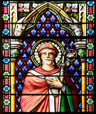 Stained glass window. Apostle. Stained glass window in the Cathedral of Meze, South of France Royalty Free Stock Images
