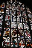 Stained glass window art of the Catholic Cathedral of Europe stock photos