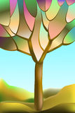 Stained-glass window autumn tree. Stained-glass window, abstract autumn tree against the sky and hills, vector illustration Royalty Free Stock Photography